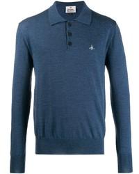 Мужской темно-синий свитер с воротником поло от Vivienne Westwood