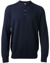 Темно-синий свитер с горловиной на пуговицах
