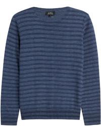 Темно-синий свитер с круглым вырезом в горизонтальную полоску