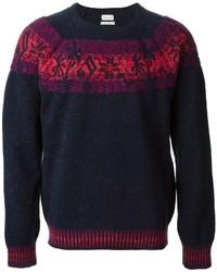 Темно-синий свитер с круглым вырезом с жаккардовым узором