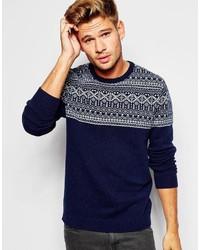 Мужской темно-синий свитер с круглым вырезом с жаккардовым узором от Asos