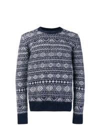 Мужской темно-синий свитер с круглым вырезом с жаккардовым узором от Woolrich