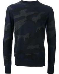 Темно-синий свитер с круглым вырезом с камуфляжным принтом