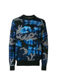 Мужской темно-синий свитер с круглым вырезом с камуфляжным принтом от Diesel