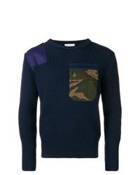 Мужской темно-синий свитер с круглым вырезом с камуфляжным принтом от Gosha Rubchinskiy