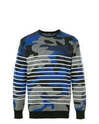 Мужской темно-синий свитер с круглым вырезом с камуфляжным принтом от Loveless
