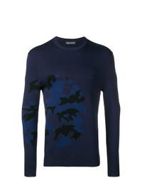 Мужской темно-синий свитер с круглым вырезом с камуфляжным принтом от Neil Barrett