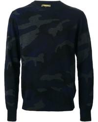 Мужской темно-синий свитер с круглым вырезом с камуфляжным принтом от Valentino