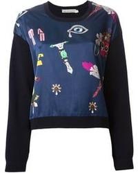 Темно-синий свитер с круглым вырезом с принтом
