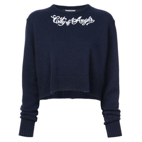 Женский темно-синий свитер с круглым вырезом с принтом от Adaptation