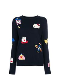 Женский темно-синий свитер с круглым вырезом с принтом от Chinti & Parker