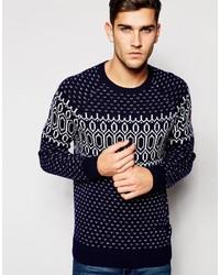 Мужской темно-синий свитер с круглым вырезом с принтом от Esprit