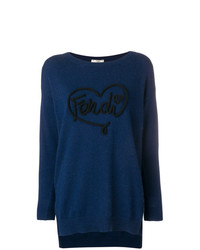 Женский темно-синий свитер с круглым вырезом с принтом от Fendi
