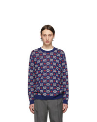 Мужской темно-синий свитер с круглым вырезом с принтом от Gucci