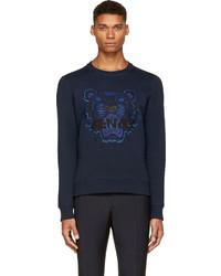 Мужской темно-синий свитер с круглым вырезом с принтом от Kenzo
