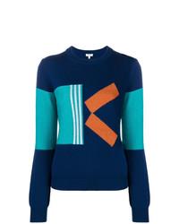 Женский темно-синий свитер с круглым вырезом с принтом от Kenzo