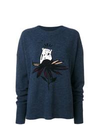 Женский темно-синий свитер с круглым вырезом с принтом от Markus Lupfer