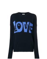 Женский темно-синий свитер с круглым вырезом с принтом от P.A.R.O.S.H.