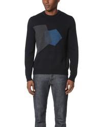 Мужской темно-синий свитер с круглым вырезом с принтом от Z Zegna