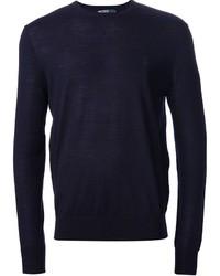 Темно-синий свитер с круглым вырезом