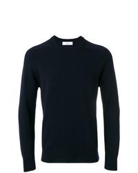 Мужской темно-синий свитер с круглым вырезом от AMI Alexandre Mattiussi