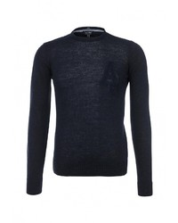 Мужской темно-синий свитер с круглым вырезом от Armani Jeans