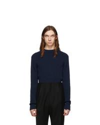 Мужской темно-синий свитер с круглым вырезом от Bottega Veneta