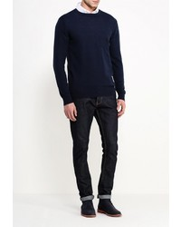 Мужской темно-синий свитер с круглым вырезом от Deblasio