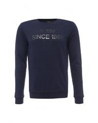 Мужской темно-синий свитер с круглым вырезом от Guess Jeans