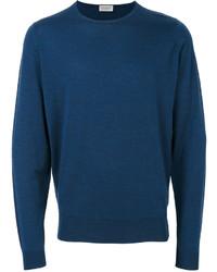 Мужской темно-синий свитер с круглым вырезом от John Smedley