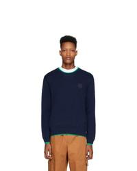 Мужской темно-синий свитер с круглым вырезом от Kenzo