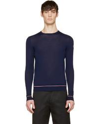 Мужской темно-синий свитер с круглым вырезом от Moncler