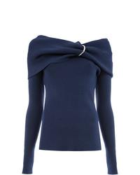 Женский темно-синий свитер с круглым вырезом от Monse