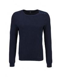 Мужской темно-синий свитер с круглым вырезом от s.Oliver Denim