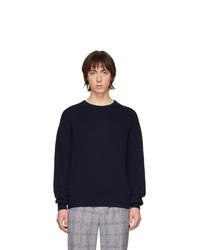 Мужской темно-синий свитер с круглым вырезом от Schnaydermans