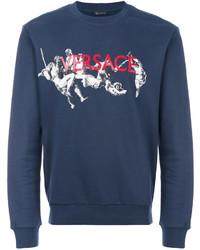 Мужской темно-синий свитер с круглым вырезом от Versace