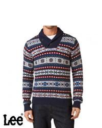 Темно-синий свитер с отложным воротником с жаккардовым узором
