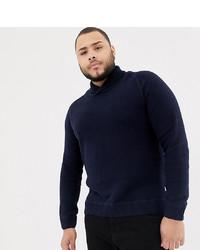Темно-синий свитер с отложным воротником от Jack & Jones