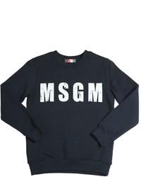 Детский темно-синий свитер с принтом для мальчиков от MSGM