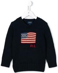 Детский темно-синий свитер с принтом для мальчику от Ralph Lauren