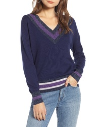 Темно-синий свитер с v-образным вырезом с узором зигзаг