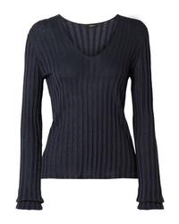 Женский темно-синий свитер с v-образным вырезом от Akris