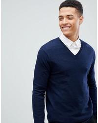 Мужской темно-синий свитер с v-образным вырезом от ASOS DESIGN
