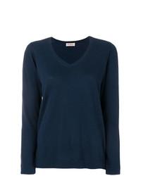 Женский темно-синий свитер с v-образным вырезом от Blanca