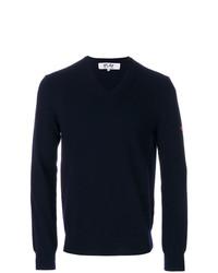 Мужской темно-синий свитер с v-образным вырезом от Comme Des Garcons Play