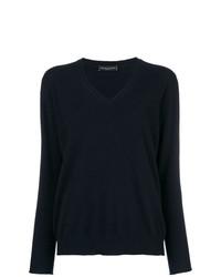 Женский темно-синий свитер с v-образным вырезом от Fabiana Filippi