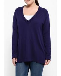 Женский темно-синий свитер с v-образным вырезом от Fiorella Rubino