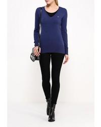 Женский темно-синий свитер с v-образным вырезом от Guess Jeans