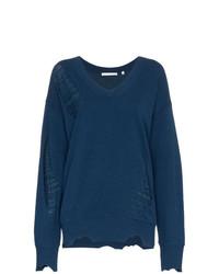 Женский темно-синий свитер с v-образным вырезом от Helmut Lang