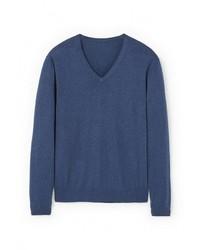 Мужской темно-синий свитер с v-образным вырезом от Mango Man
